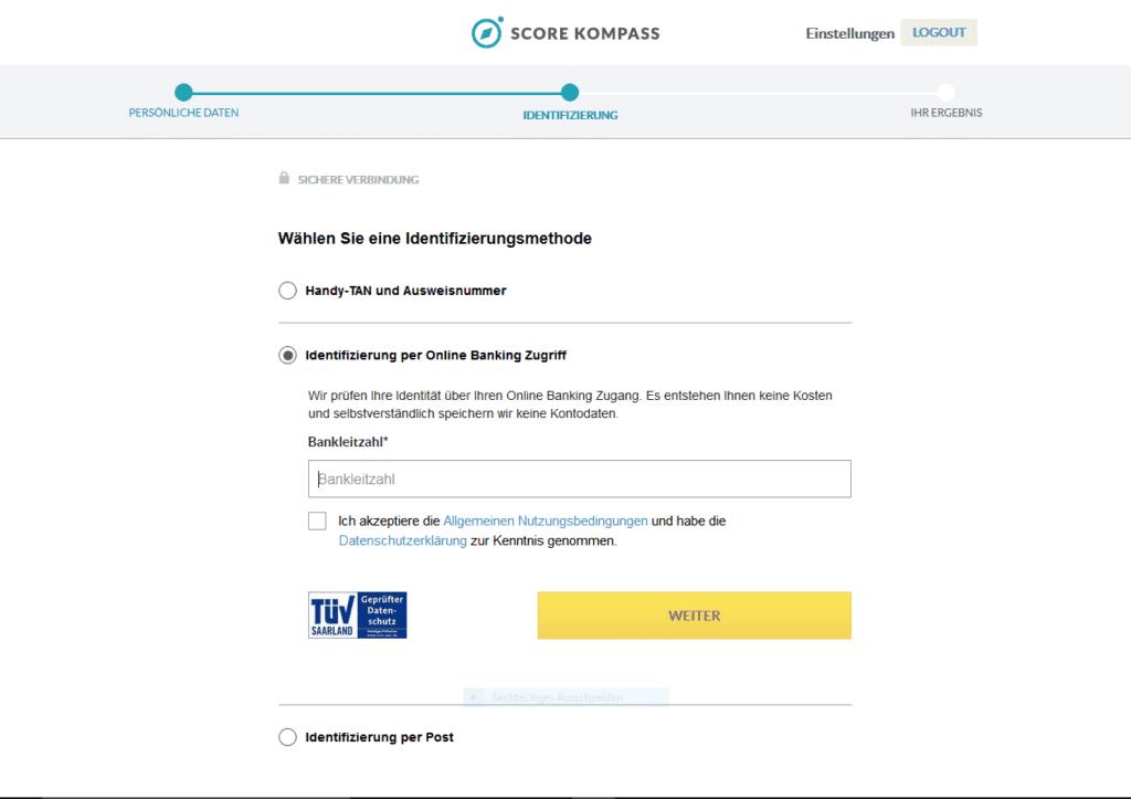 Indentifizierung per Online Banking 1024x723 - Anmeldeguide Score Kompass kostenlos