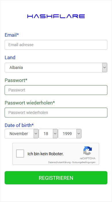 Registrierung Hashflare