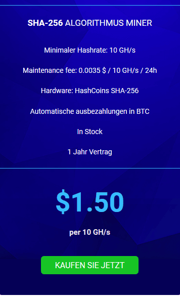 Hashflare BTC Preisliste